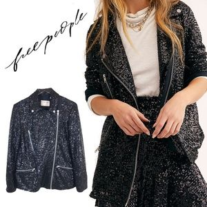 We The Free People Midnight Message Moto Jacket